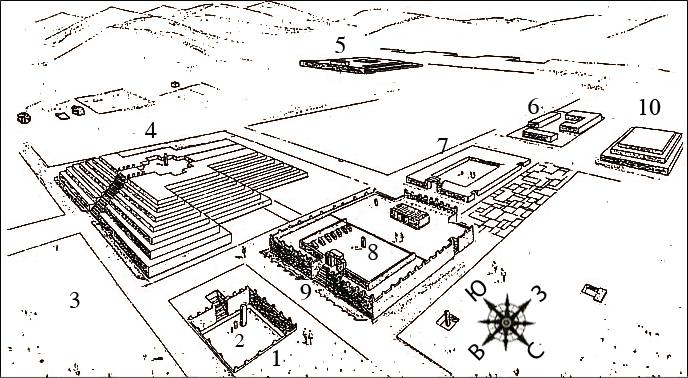 Схема-реконструкция сооружений комплекса Тиауанако